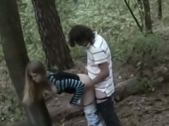 Hot amateur girl gets drilled outdoors by dirty street ranger