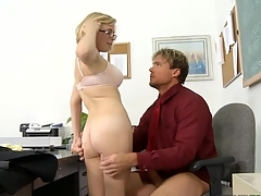 Vicious schoolgirl rides a hard ramrod of her teacher