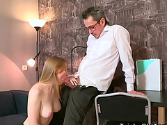 Sweet darling is delighting old teacher with oral engulfing