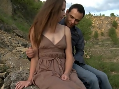 Legal Age Teenager whore copulates with the brush partner outdoors on a massive stone