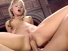 Little blond cutie is ridding and engulfing a fellow