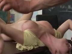 Nasty schoolgirl does her best near please a big mature horseshit