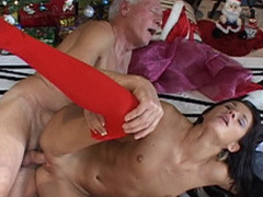 This old fellow finds out on rub-down the Christmas morning a cute dark brown doll under his tree. But this doll is a real juvenile cutie sent to make him pleased with valuable hardcore: oldyoung fuck, fellatio, doggy style and raise amount