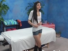 Raunchy black brown chick with worthwhile forms of body takes off top, jean shorts, high boots and tiny pants in anticipation of getting fine massage from one dude. They fuck hard after the wonderful massage.