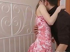 Slender legal age teenager rides a dick until that babe screams